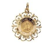 14K Yellow Gold Saint Elizabeth Seton Religious Medal
