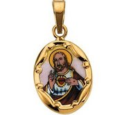 14K Gold and Porcelain Sacred Heart Religious Medal