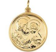 14K Yellow Gold Round Saint Joseph Religious Medal