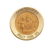 14K Yellow Gold Round Saint Joseph Lapel Pin