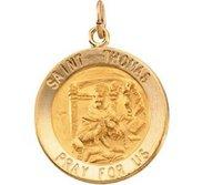 14K Gold Saint Thomas Religious Medal
