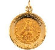 14K Gold Saint Peregrine Religious Medal