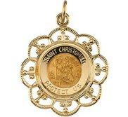 14K Gold Saint Christopher Religious Medal