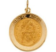 14K Gold Nino de Atocha Religious Medal
