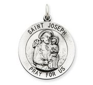 Sterling Silver Antiqued Saint Joseph Religious Medal
