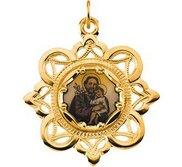 Saint Joseph Enamel Pendant with 10K Yellow Gold Frame