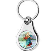 Stainless Steel Color Saint Christopher Keychain