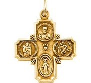 14K Gold Four Way Religious Medal  H
