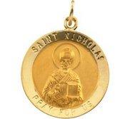 14K Gold Saint Nicholas Religious Medal