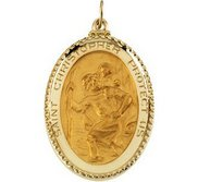 14K Yellow Gold Saint Christopher Oval with Rope Border Religious Medal