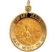 14K Gold Infant Jesus Religious Medal