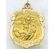 14K Saint Michael Badge Religious Medal