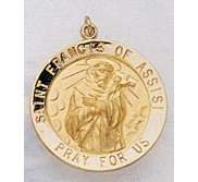 14K Gold Saint Francis of Assisi Religious Medal