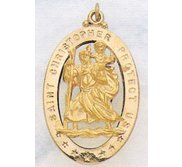 Saint Christopher Cut Out Oval Religious Medal