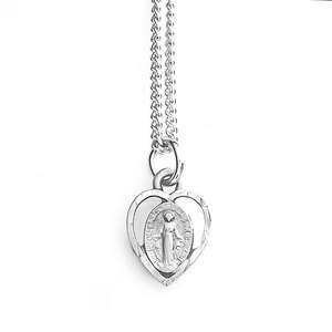 Pewter Petite Heart Cutout Miraculous Medal with 18  Chain