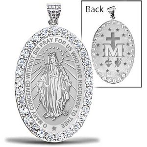 Miraculous Medal  EXCLUSIVE  Double Sided CZ Oval Pendant