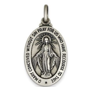 Sterling Silver Antiqued Miraculous Medal Pendant Charm