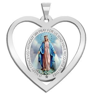 Miraculous Medal Heart Shaped Color Cut out  EXCLUSIVE