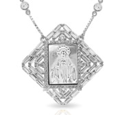 Mother of Pearl Miraculous Square Medal with CZ Ornate Border