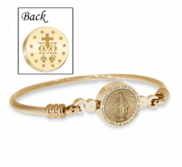Stainless Steel Miraculous Medal   Virgin Mary Bangle Bracelet