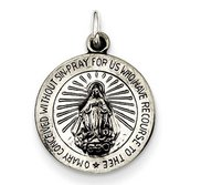 Sterling Silver Antiqued Petite Round Miraculous Religious Medal Pendant Charm
