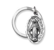 Miraculous Medal Pewter Religious Oval Keychain