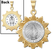 Miraculous Medal Two Tone Sun Border Medals  EXCLUSIVE