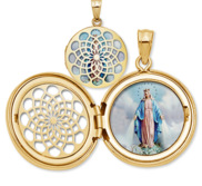 Miraculous Medal Ornate Cut out Round Locket
