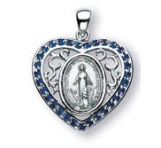 Sterling Silver Miraculous Medal w  Synthetic Sapphires