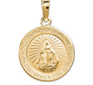 14K White Gold Miraculous Medal