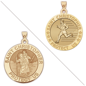 Men s Track   Field   Saint Christopher Doubledside Sports Religious Medal  EXCLUSIVE