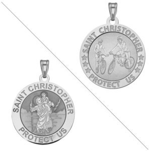 Bicycle   Saint Christopher Doubledside Sports Religious Medal  EXCLUSIVE