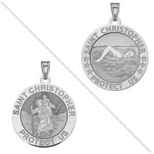 Swimmer  female    Saint Christopher Doubledside Sports Religious Medal