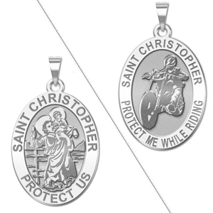 Saint Christopher    Protect Me While Riding   Doubledside Motorcycle Religious Medal