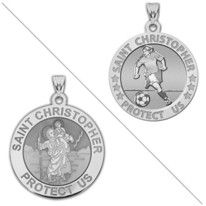 Women s and Girl s SOCCER   Saint Christopher Doubledside Sports Religious Medal  EXCLUSIVE