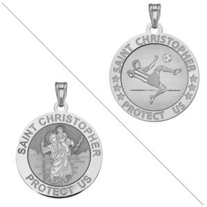 Soccer   Saint Christopher Doubledside Sports Religious Medal  EXCLUSIVE