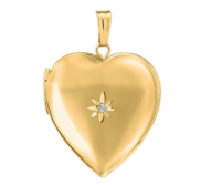 14k Gold Filled Heart Photo Locket With Diamond