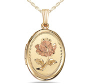 14K Gold Filled Rose Oval Photo Locket
