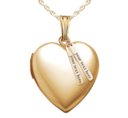 Yellow Gold Heart Photo Locket w  Personalized Tabs