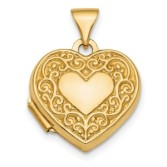 Solid 14K Yellow Gold Floral Heart Locket