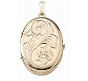 Solid 14K Yellow Gold Oval Four Photo Locket