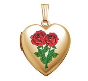 Solid 14K Yellow Gold  Double Rose  Sweetheart Locket