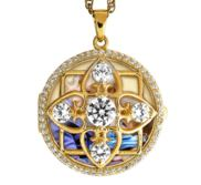 Yellow Gold Round Photo Locket with Cubic Zirconias with Chain Included