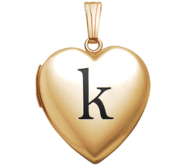 Yellow Gold Heart Locket w  Black Initial