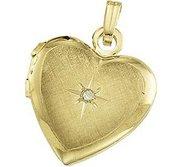 Solid 14K Yellow Gold Heart Shaped Locket W Diamond