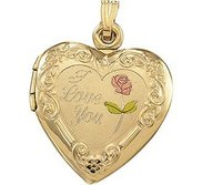 Solid 14K Yellow Gold Tri Color Heart Locket  With  I Love You