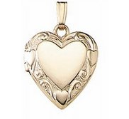 Solid 14K Yellow Gold Small Heart Photo Locket