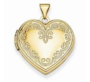 14k Yellow Gold Heart Picture Locket