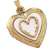 Solid 14K Yellow Gold and Mother Of Pearl Heart Locket