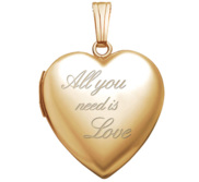 14K Yellow Gold  All You Need Is Love  Locket